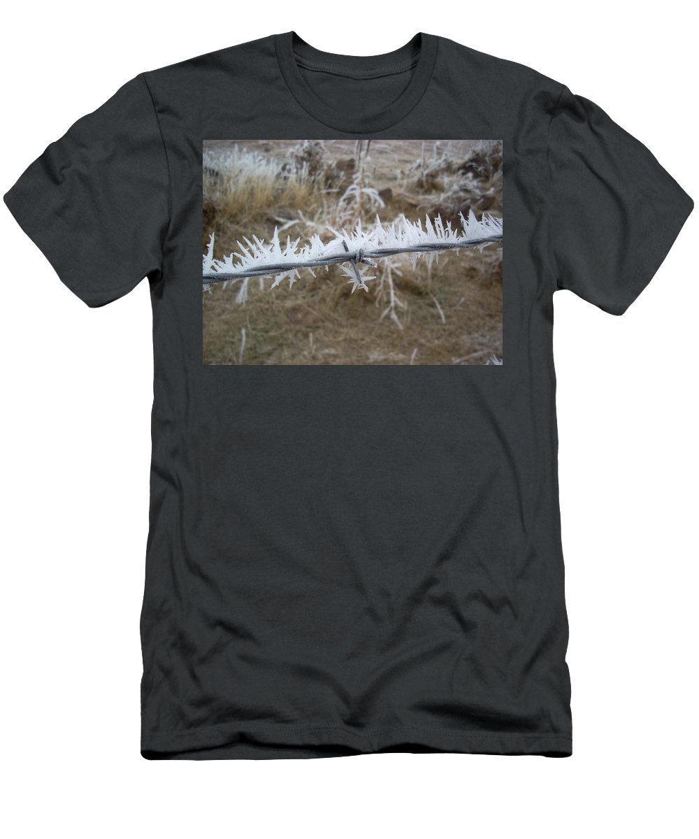 Fence Men's T-Shirt (Athletic Fit) featuring the photograph Barb Wire by Sara Stevenson