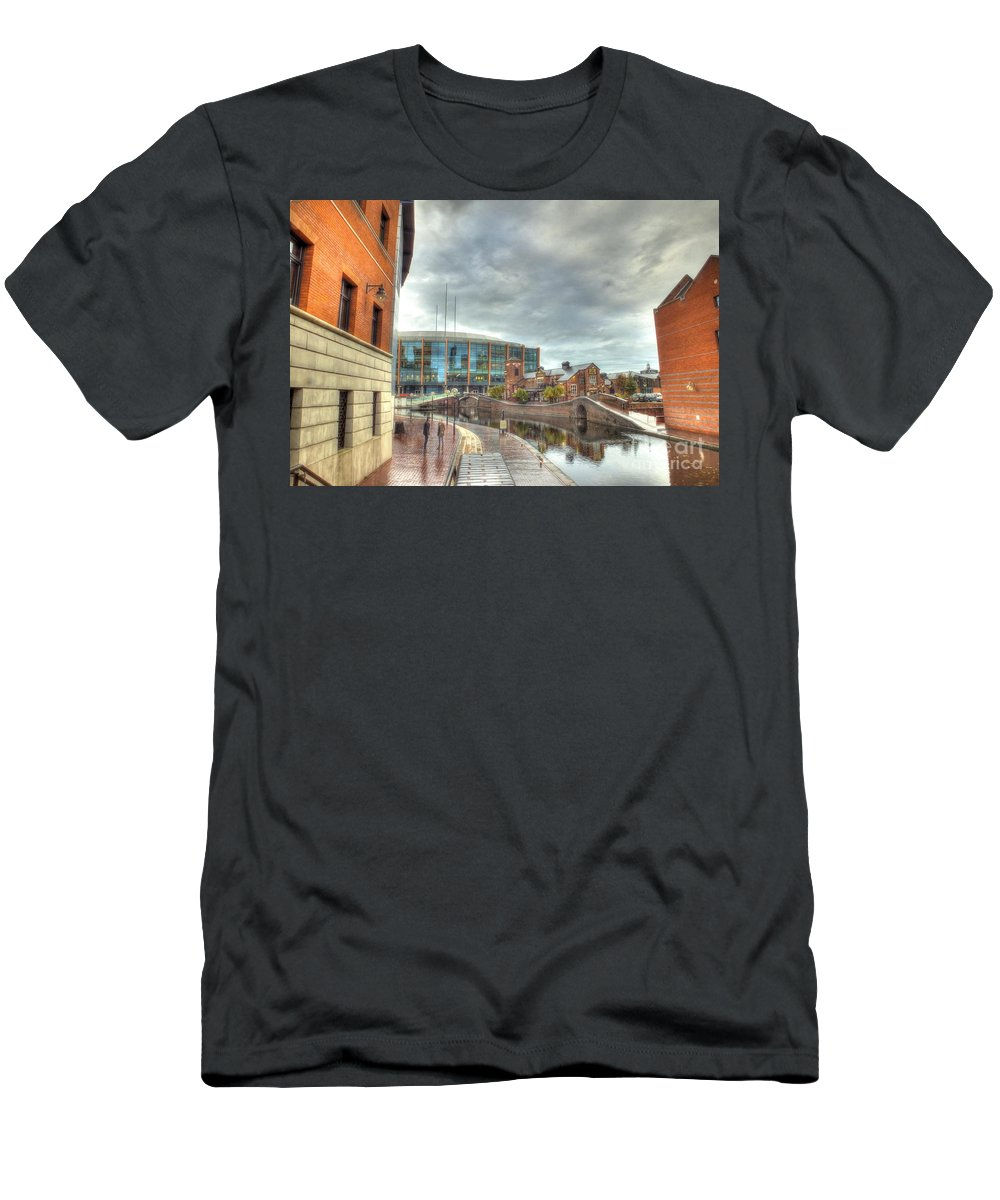 Canal Men's T-Shirt (Athletic Fit) featuring the photograph Barclaycard Arena And The Malt House Pub by Catchavista