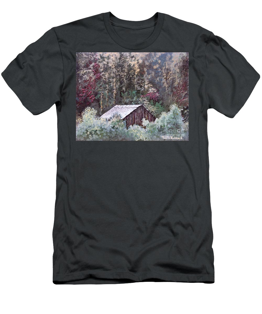 Landscape Men's T-Shirt (Athletic Fit) featuring the painting Barn At Cades Cove by Todd A Blanchard