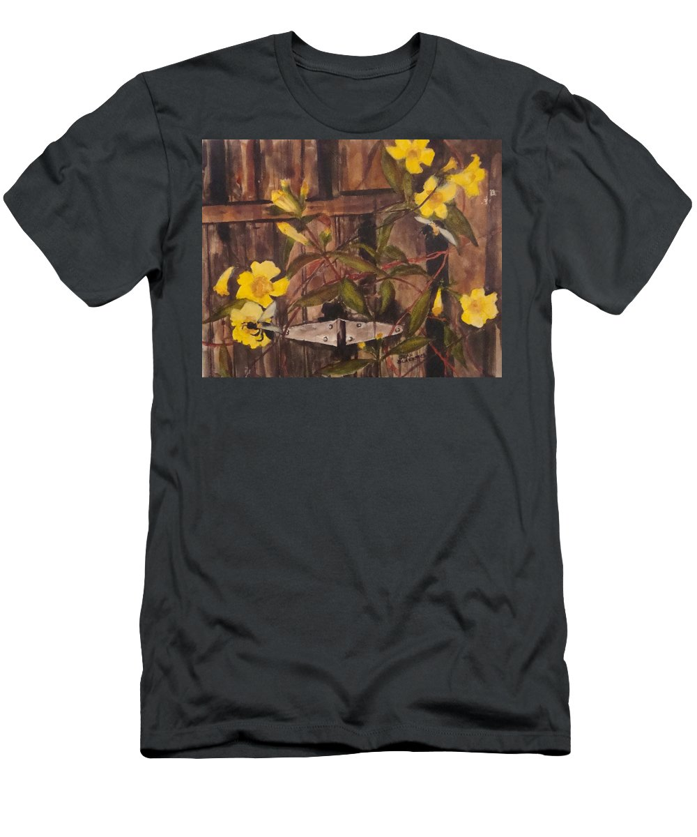 Flower T-Shirt featuring the painting Barn Door Hinge by Jean Blackmer