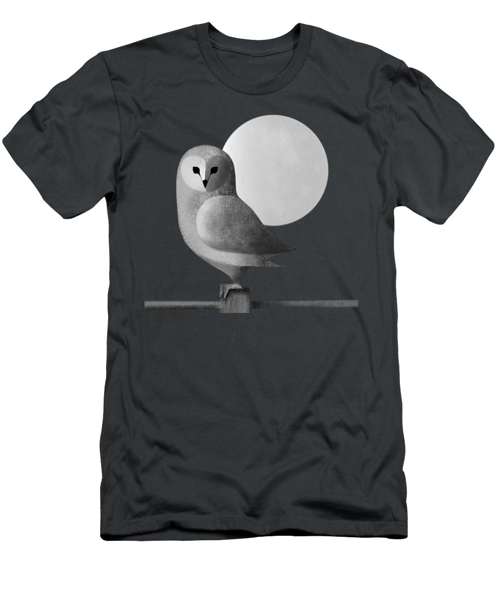Drawing Men's T-Shirt (Athletic Fit) featuring the painting Barn Owl Full Moon by Little Bunny Sunshine