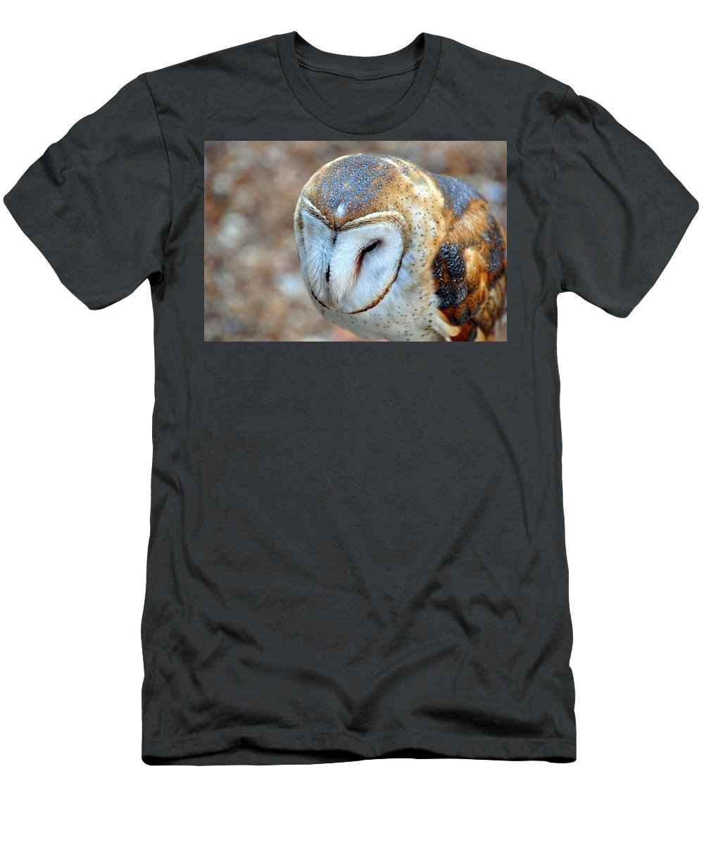 Owl Men's T-Shirt (Athletic Fit) featuring the photograph Barn Owle 1 by Marty Koch