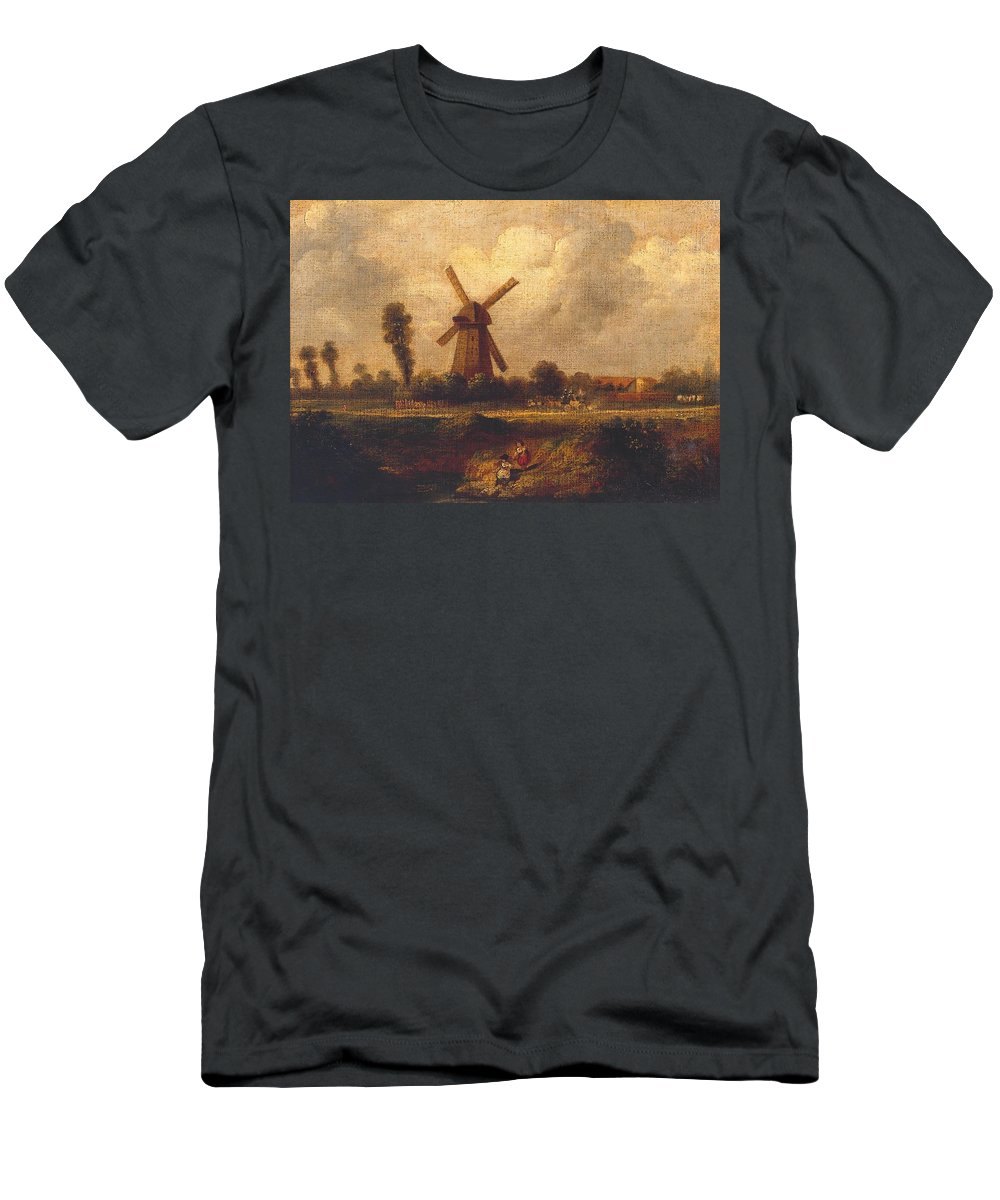 John Constable 1776�1837  �barnes Common� Men's T-Shirt (Athletic Fit) featuring the painting Barnes Common by John Constable