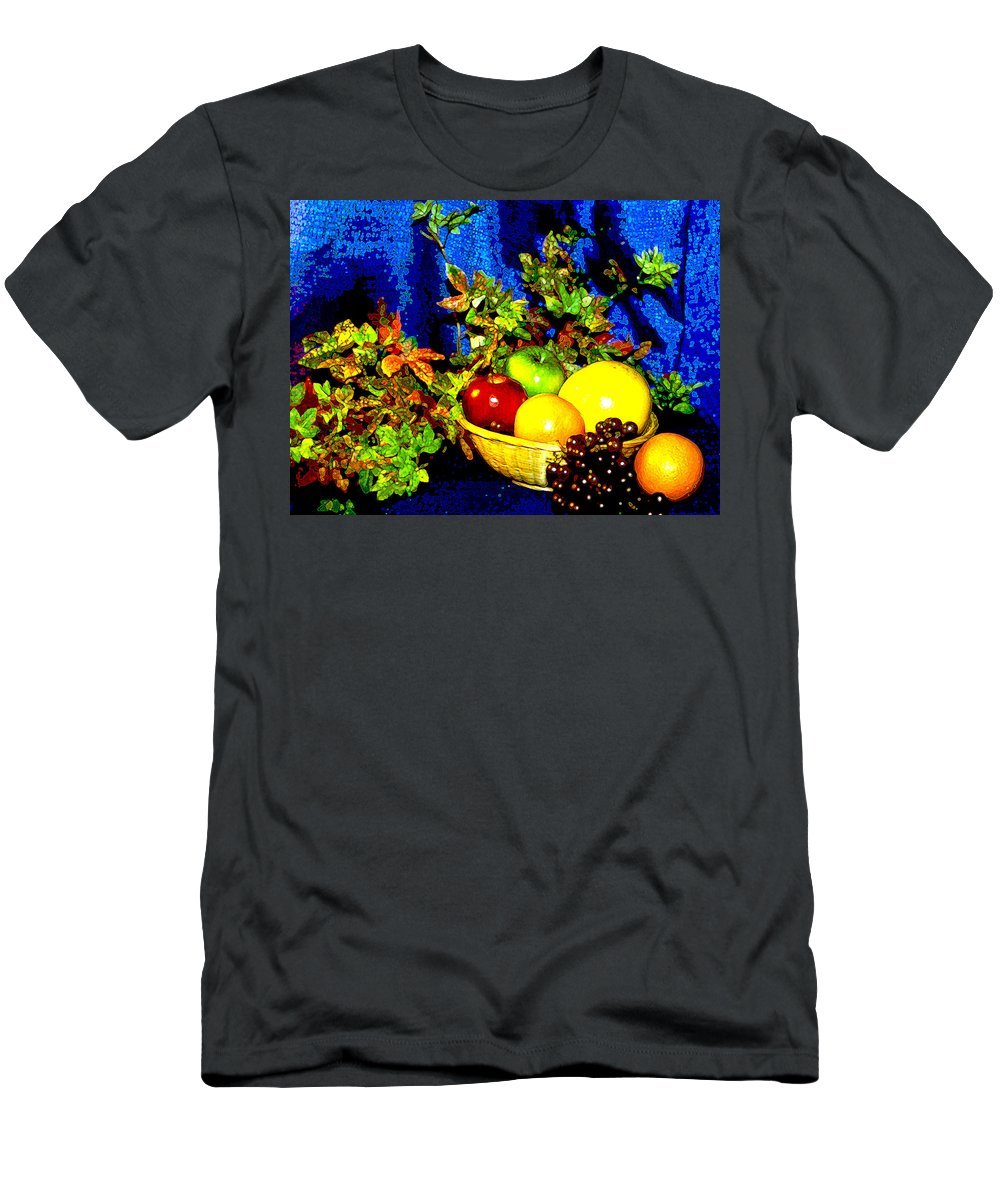 Fruit Men's T-Shirt (Athletic Fit) featuring the photograph Basket With Fruit by Nancy Mueller