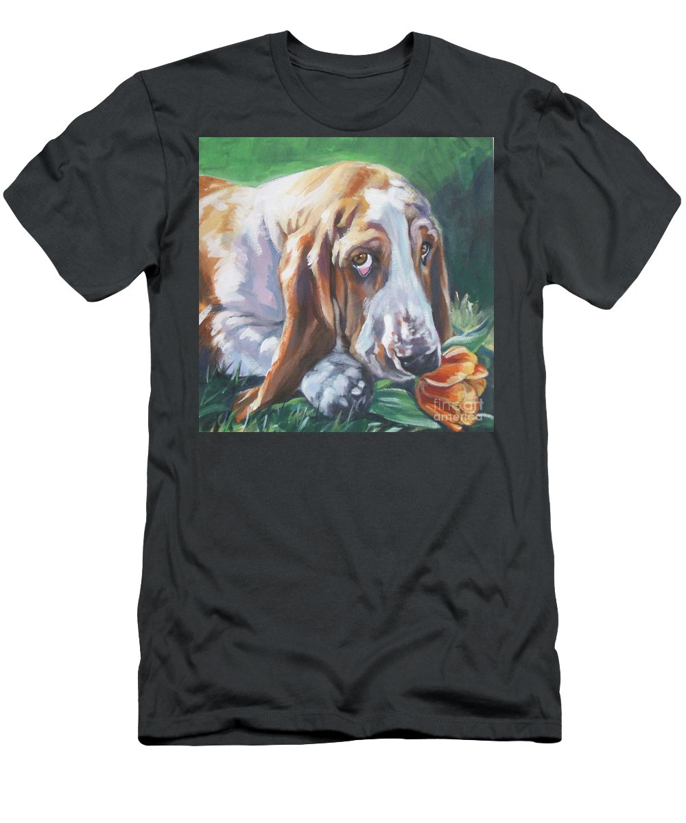 Basset Hound Men's T-Shirt (Athletic Fit) featuring the painting Basset Hound by Lee Ann Shepard