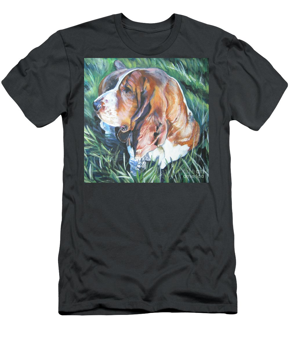 Bassett Hound Men's T-Shirt (Athletic Fit) featuring the painting Bassett Hound 1 by Lee Ann Shepard