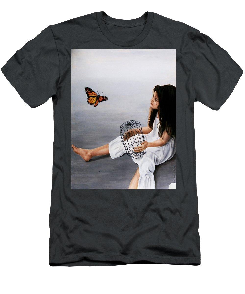 Girl Men's T-Shirt (Athletic Fit) featuring the painting Batterfly by Nataliya Bagatskaya