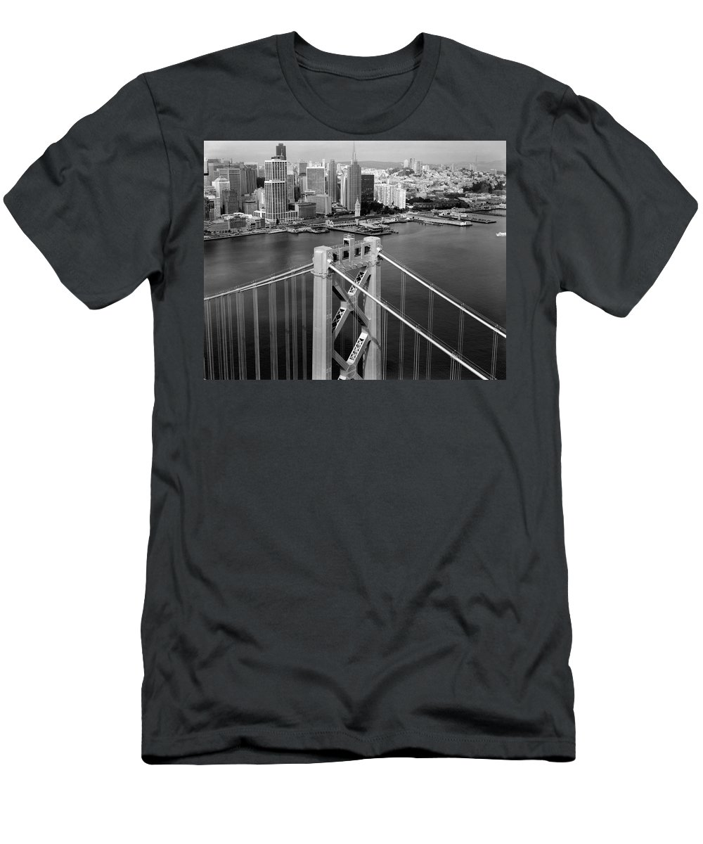 bay Bridge Men's T-Shirt (Athletic Fit) featuring the photograph Bay Bridge Tower And San Francisco Skyline by Daniel Hagerman