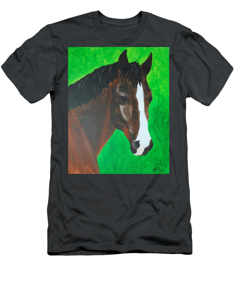 Horse Men's T-Shirt (Athletic Fit) featuring the painting Bay Horse by Emily Page