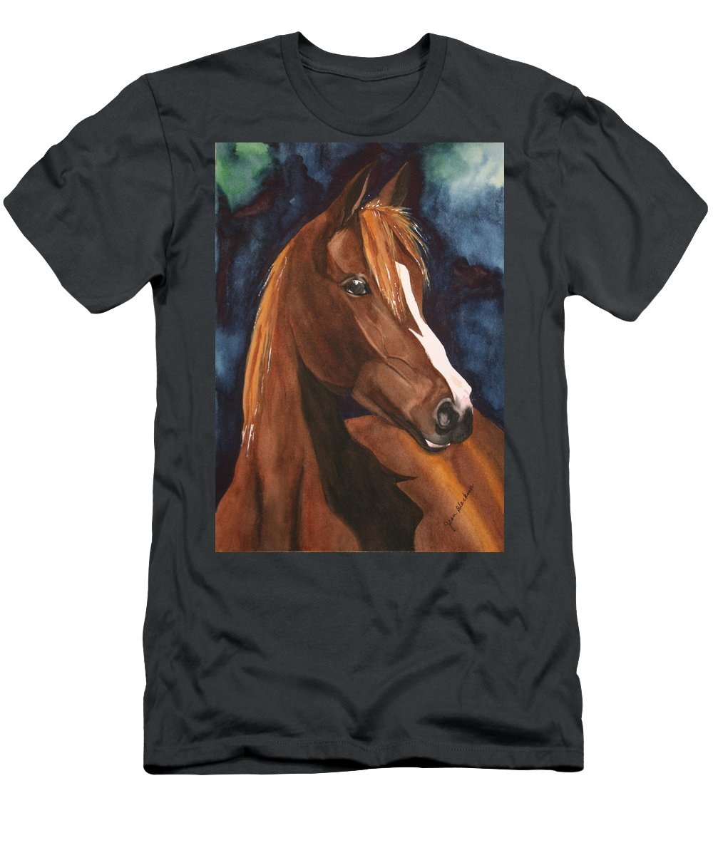 Horse Men's T-Shirt (Athletic Fit) featuring the painting Bay On Blue 2 by Jean Blackmer