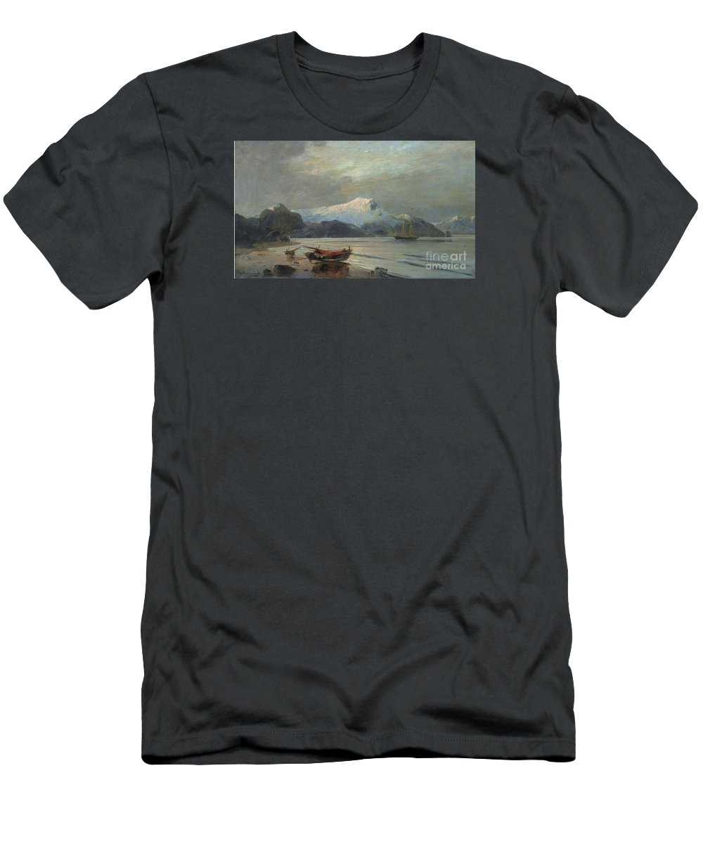 Constantine Volonakis - Bay With Boats. Sea Men's T-Shirt (Athletic Fit) featuring the painting Bay With Boats by MotionAge Designs