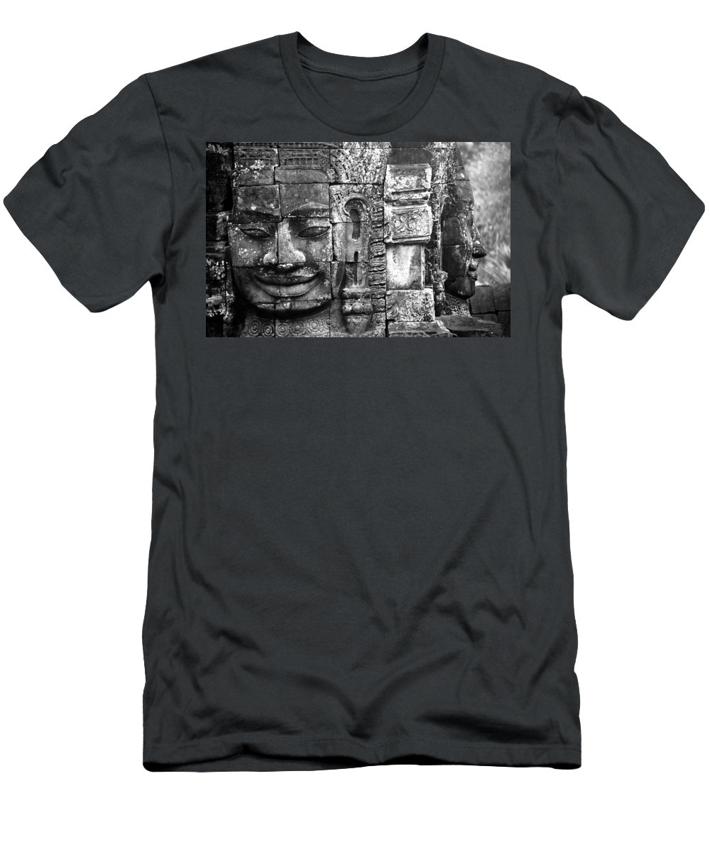 Bayon Temple Men's T-Shirt (Athletic Fit) featuring the photograph Bayon IIi by Patrick Klauss