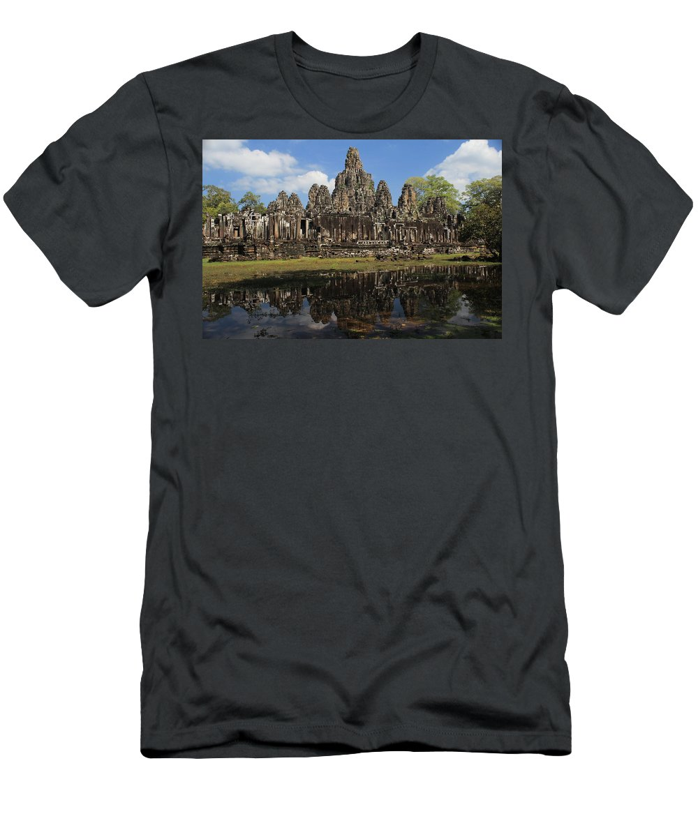Bayon Temple Men's T-Shirt (Athletic Fit) featuring the photograph Bayon Temple by Trevor Sciara