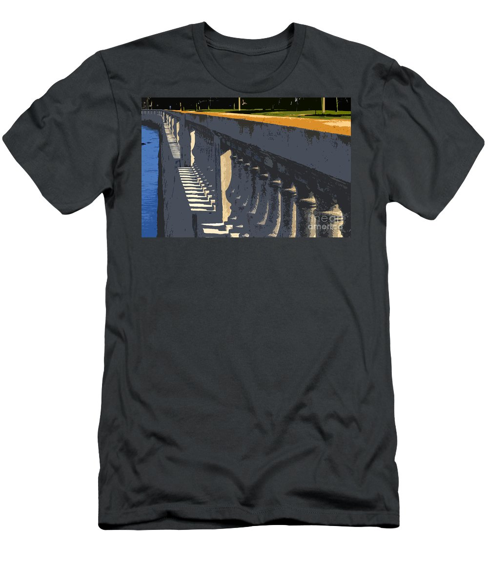 Bayshore Boulevard Men's T-Shirt (Athletic Fit) featuring the painting Bayshore Boulevard by David Lee Thompson