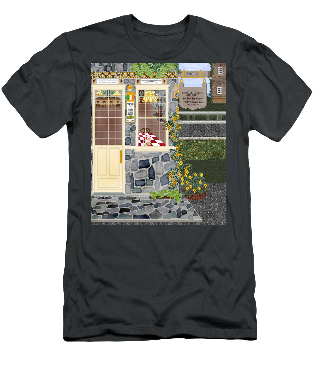 Quaint Inn Men's T-Shirt (Athletic Fit) featuring the painting Bayside Inn And Tavern In Ireland by Anne Norskog