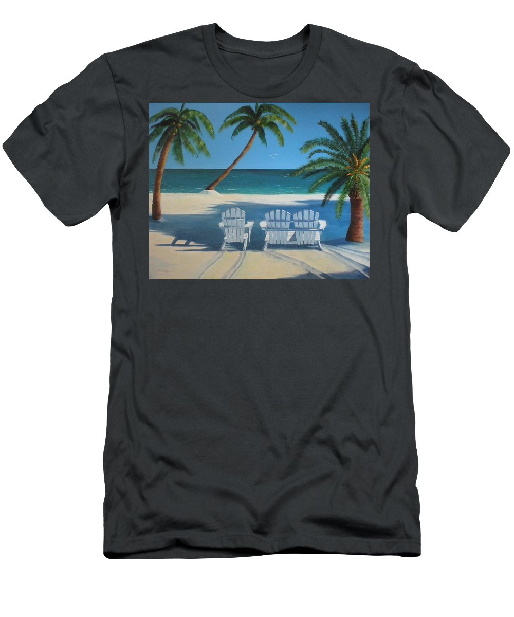 Beach Men's T-Shirt (Athletic Fit) featuring the painting Beach Chairs No. 1 by CB Woodling