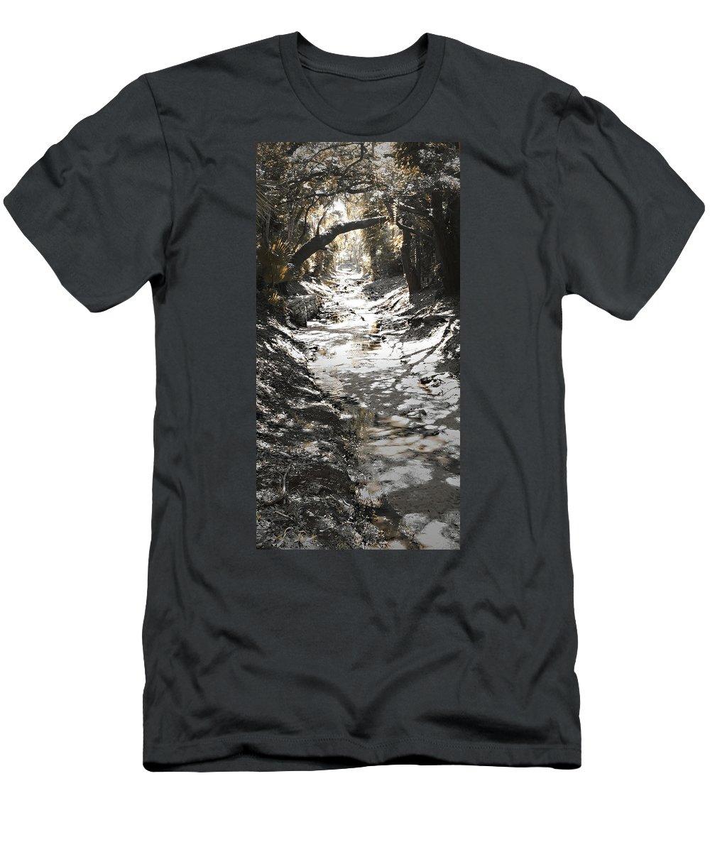 Photo Art Men's T-Shirt (Athletic Fit) featuring the photograph Beach Park Storm Drain by Steve Sperry