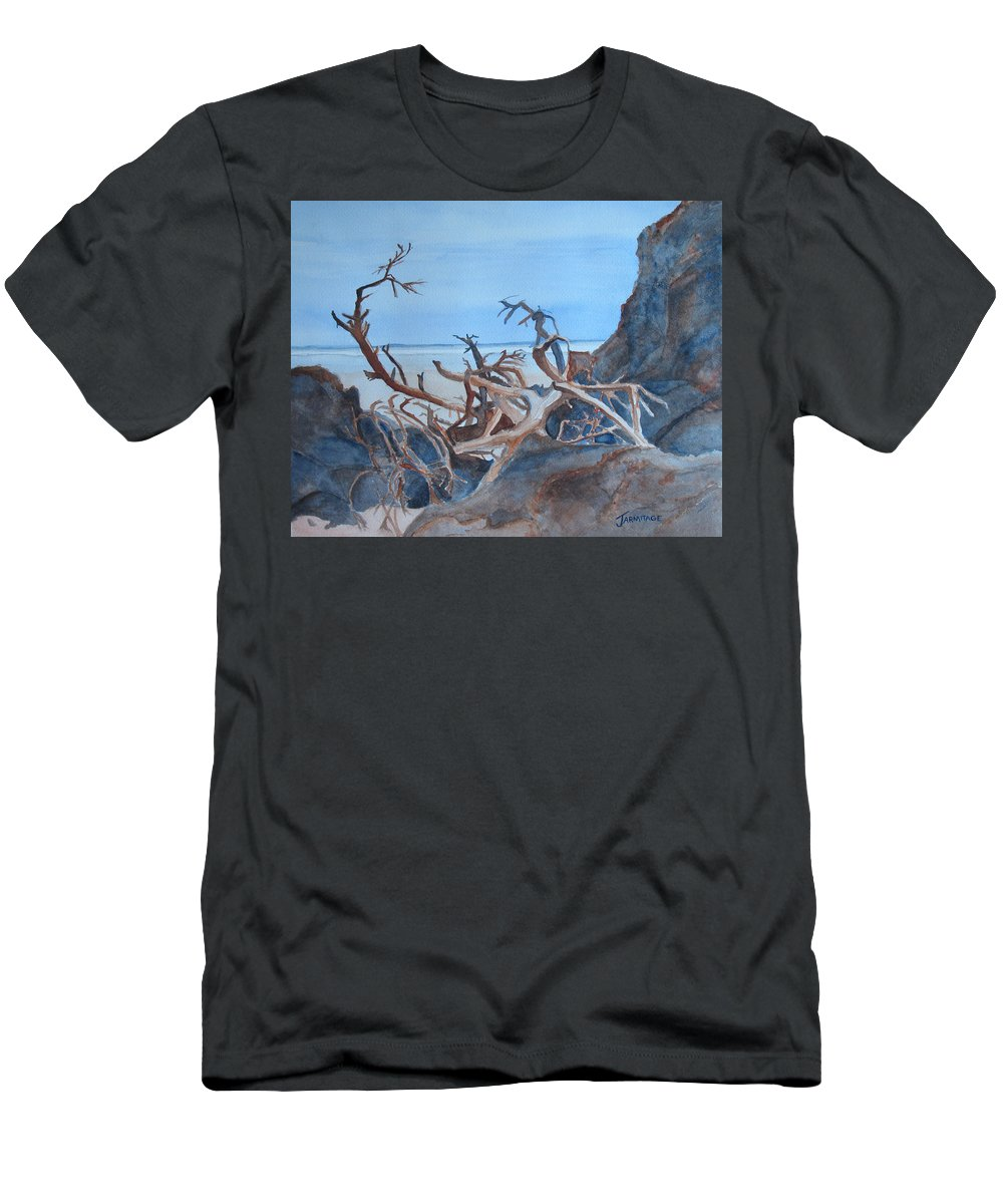 Seascapes Men's T-Shirt (Athletic Fit) featuring the painting Beach Tangle by Jenny Armitage