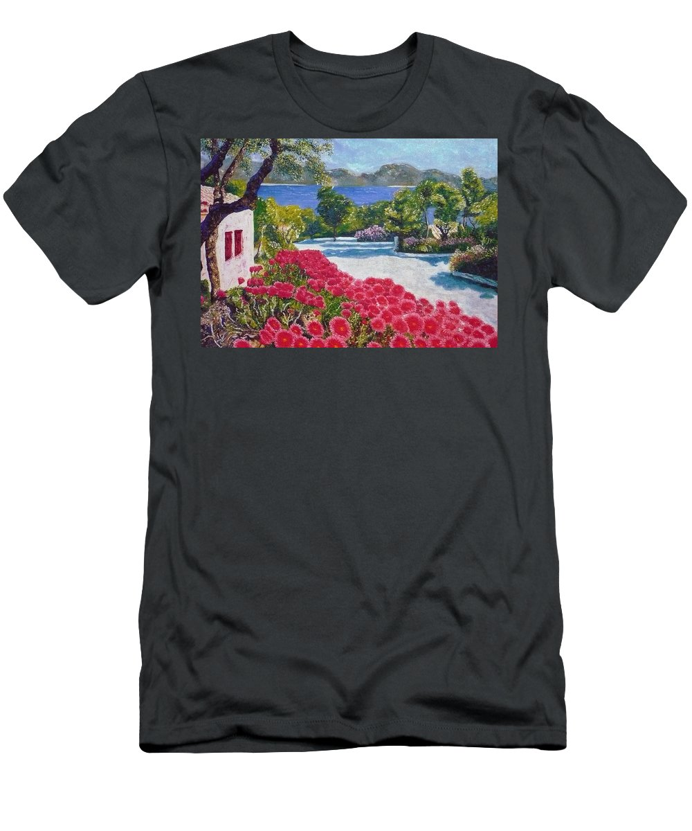 Landscape Men's T-Shirt (Athletic Fit) featuring the painting Beach With Flowers by Ericka Herazo