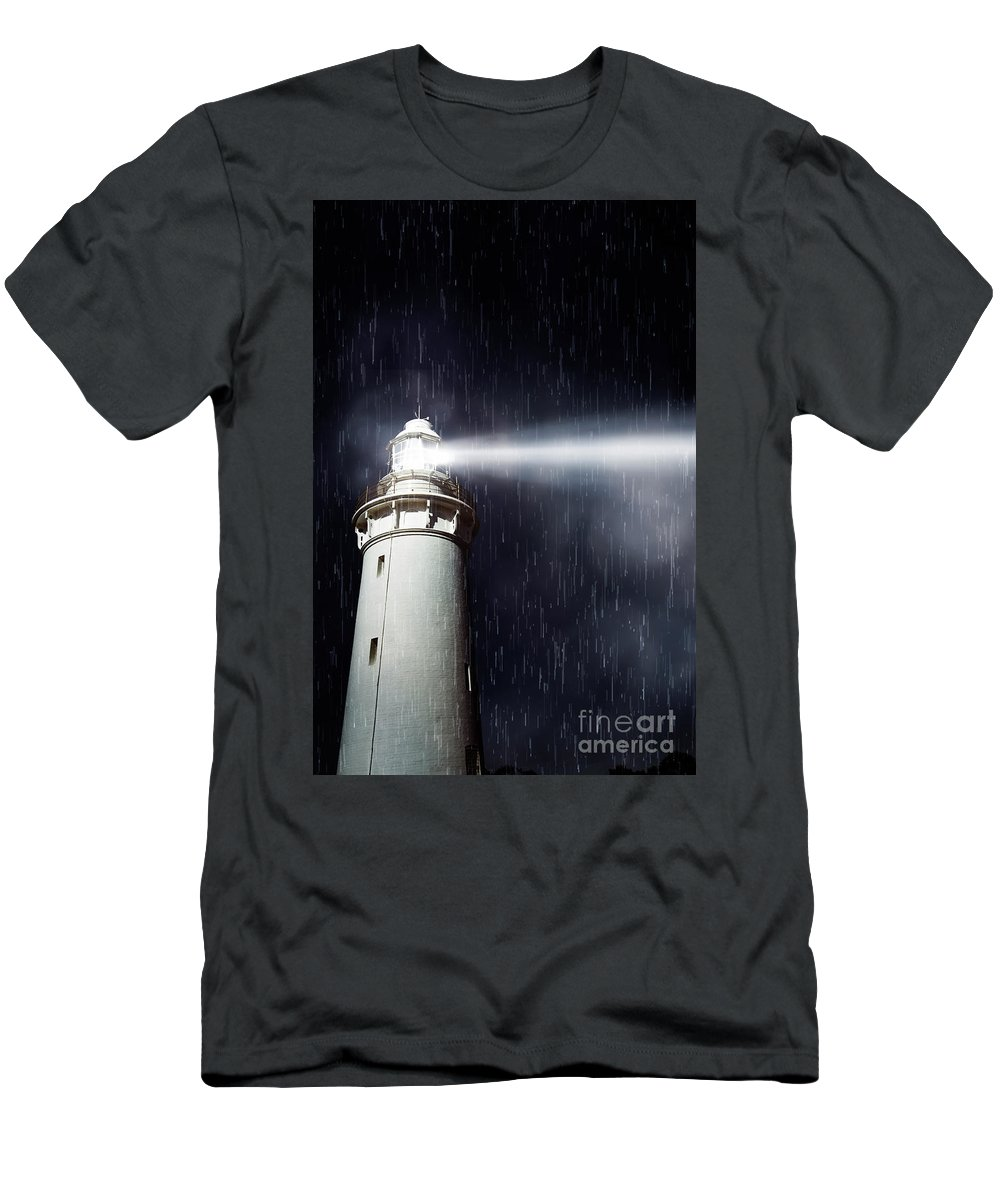 Nautical Men's T-Shirt (Athletic Fit) featuring the photograph Beaming Lighthouse by Jorgo Photography - Wall Art Gallery