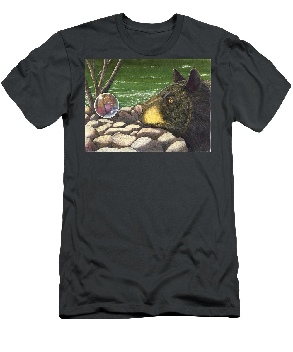 Black Bear Men's T-Shirt (Athletic Fit) featuring the painting Bear Bubble by Catherine G McElroy
