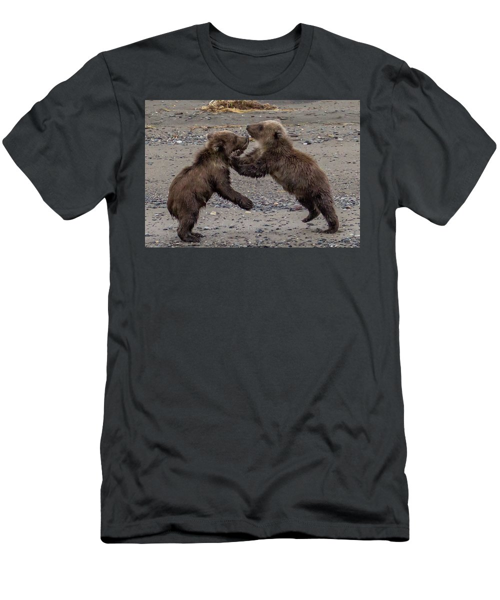 Men's T-Shirt (Athletic Fit) featuring the photograph Bear Play by Kathy Whitehurst