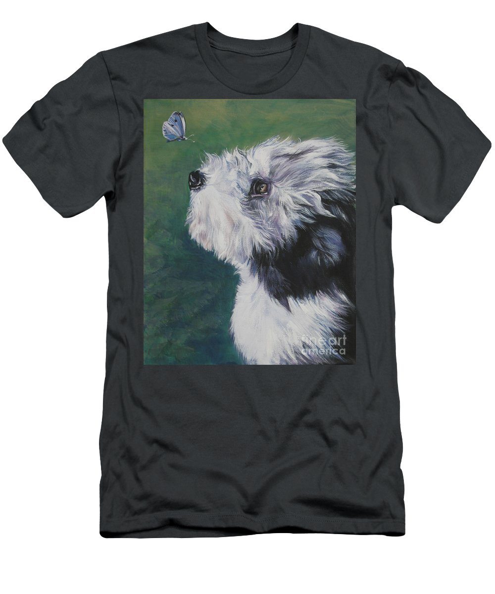 Bearded Collie Men's T-Shirt (Athletic Fit) featuring the painting Bearded Collie Pup With Butterfly by Lee Ann Shepard