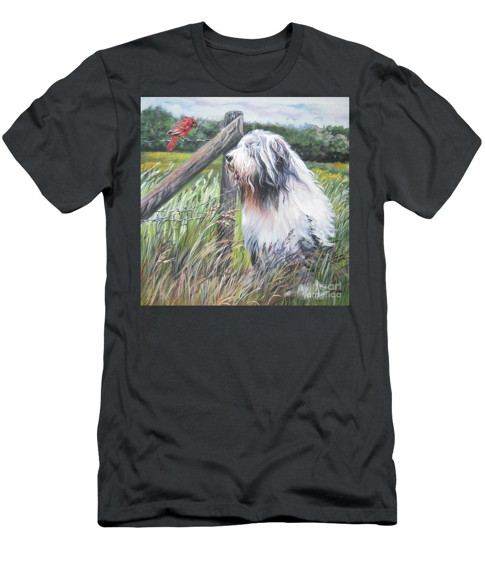 Bearded Collie Men's T-Shirt (Athletic Fit) featuring the painting Bearded Collie With Cardinal by Lee Ann Shepard