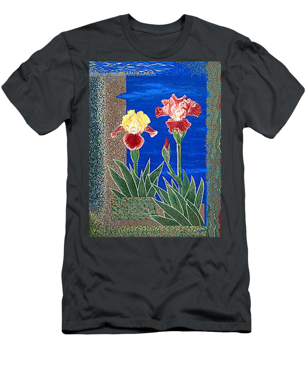 Irises Men's T-Shirt (Athletic Fit) featuring the painting Bearded Irises Cheerful Fine Art Print Giclee High Quality Exceptional Color by Baslee Troutman