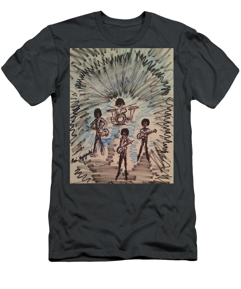 Beatles Men's T-Shirt (Athletic Fit) featuring the painting Beatles by Geraldine Myszenski