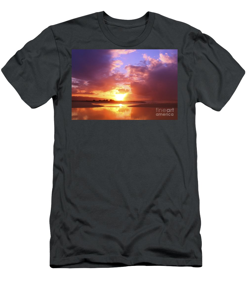 Beach Men's T-Shirt (Athletic Fit) featuring the photograph Beautiful Bright Sunset by Vince Cavataio - Printscapes