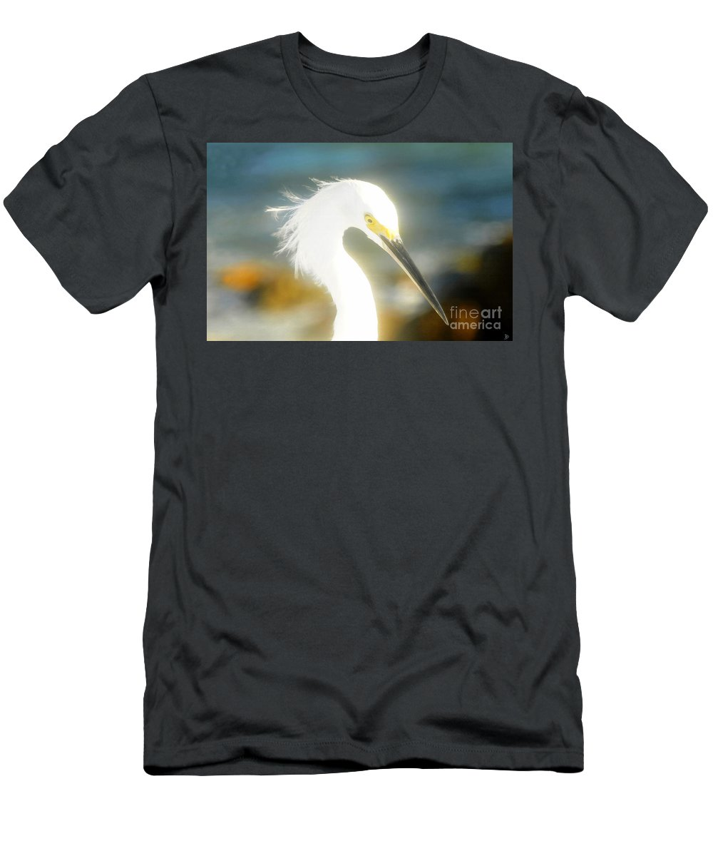 Snowy Egret Men's T-Shirt (Athletic Fit) featuring the painting Beautiful In White by David Lee Thompson