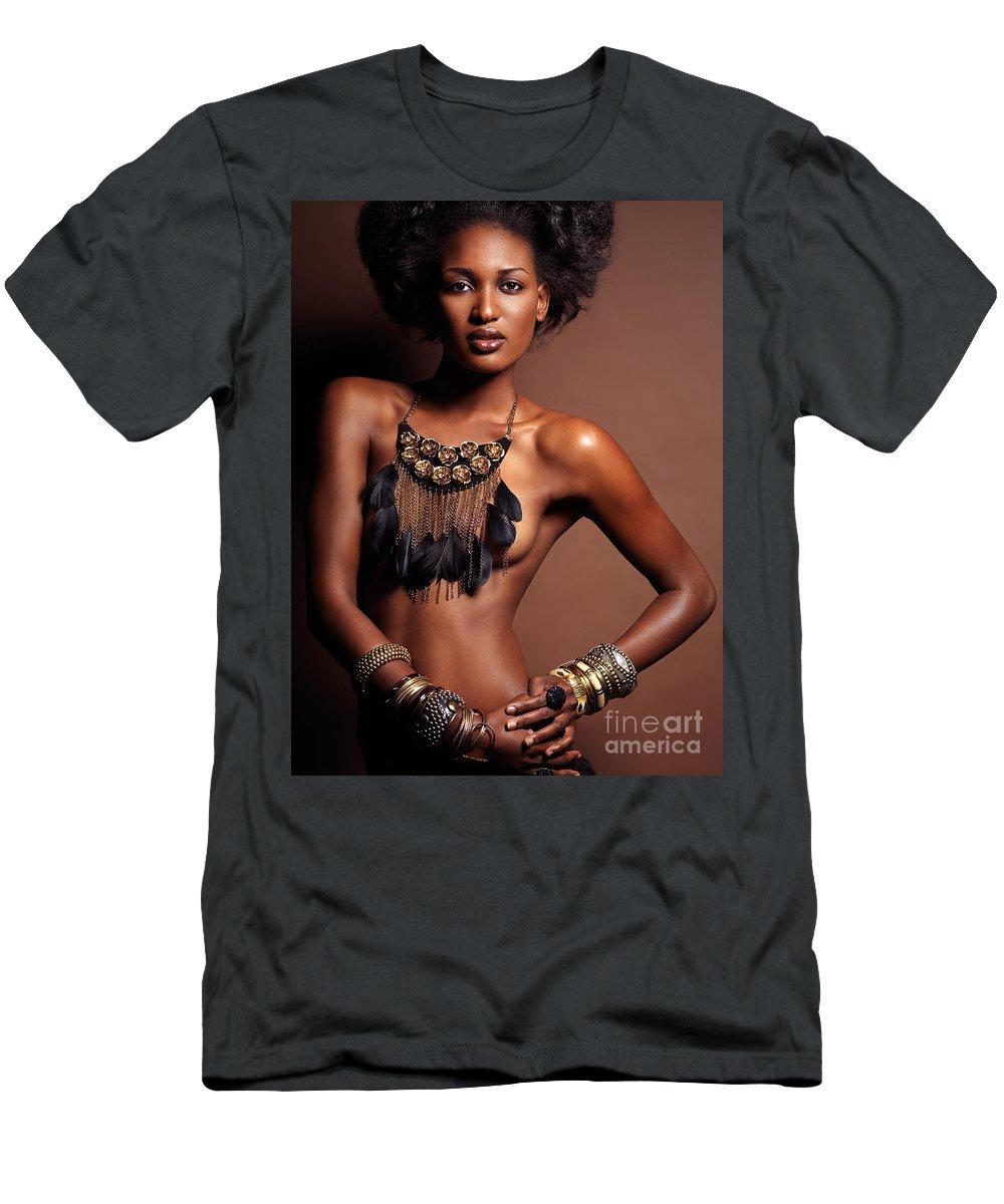 American Beauty Topless beautiful topless african american woman wearing jewelry t-shirt
