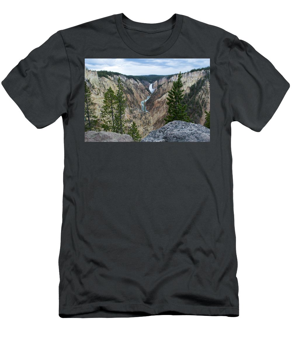 Yellowstone National Park Men's T-Shirt (Athletic Fit) featuring the photograph Beautiful View by Linda Kerkau