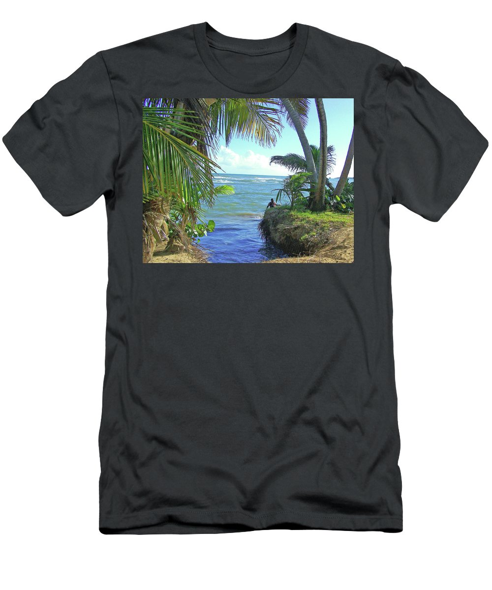Puerto Rico Men's T-Shirt (Athletic Fit) featuring the photograph Beautiful Waters Of Puerto Rico by Marilyn Holkham