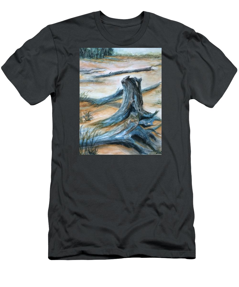 Beach Men's T-Shirt (Athletic Fit) featuring the painting Beauty Of The Beach by Laurine Baumgart