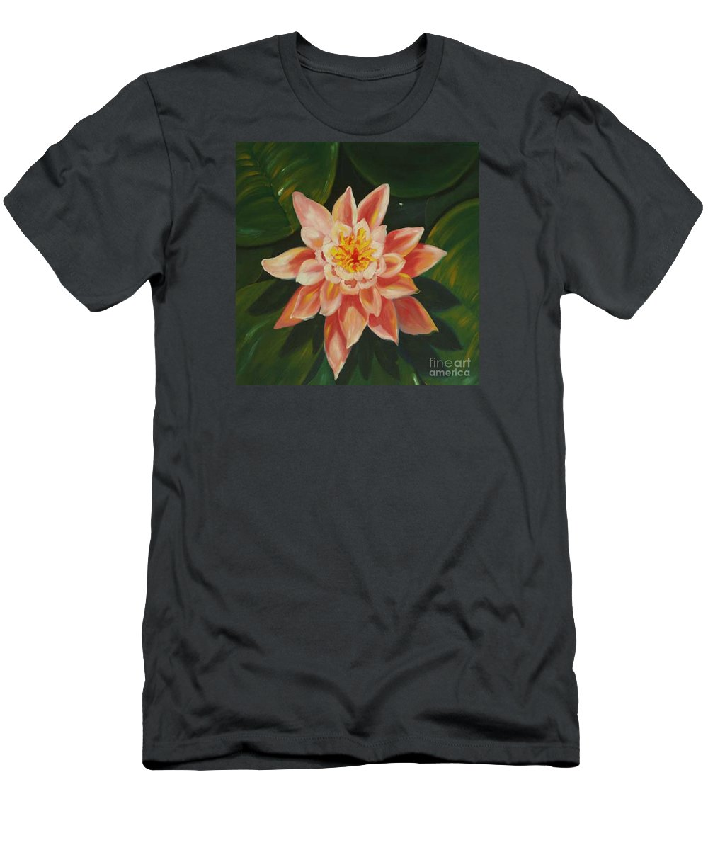 Pond Men's T-Shirt (Athletic Fit) featuring the painting Beauty Of The Swamps by Milagros Palmieri