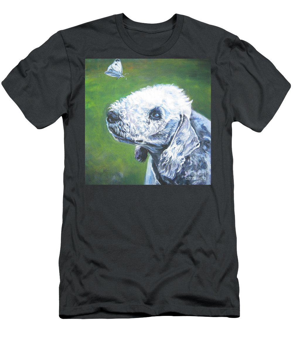 Bedlington Terrier Men's T-Shirt (Athletic Fit) featuring the painting Bedlington Terrier With Butterfly by Lee Ann Shepard