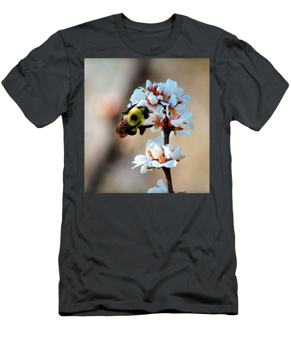 Nature Men's T-Shirt (Athletic Fit) featuring the photograph Bee Blossom by Denise Irving