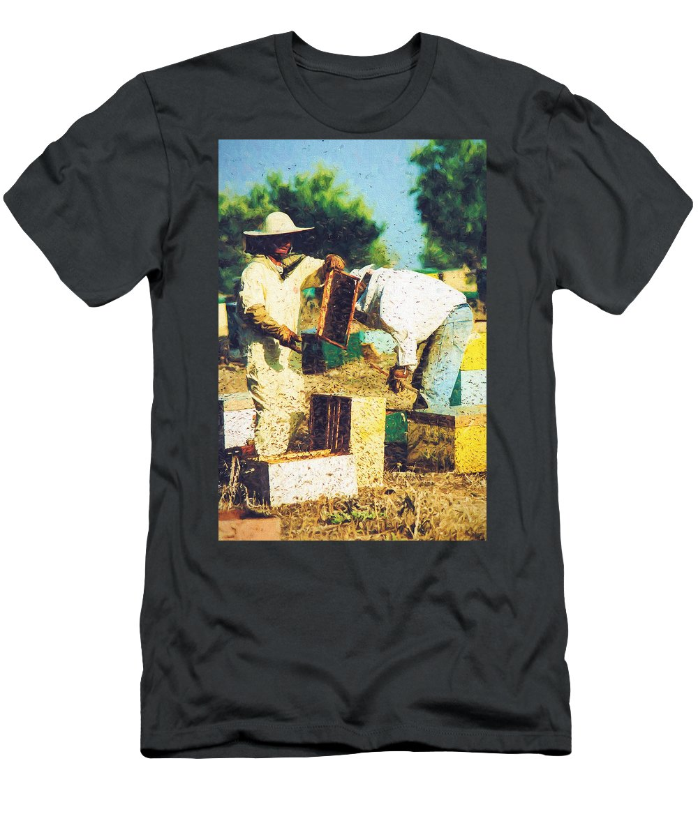 Apiary Men's T-Shirt (Athletic Fit) featuring the photograph Bee Keepers by Roy Pedersen