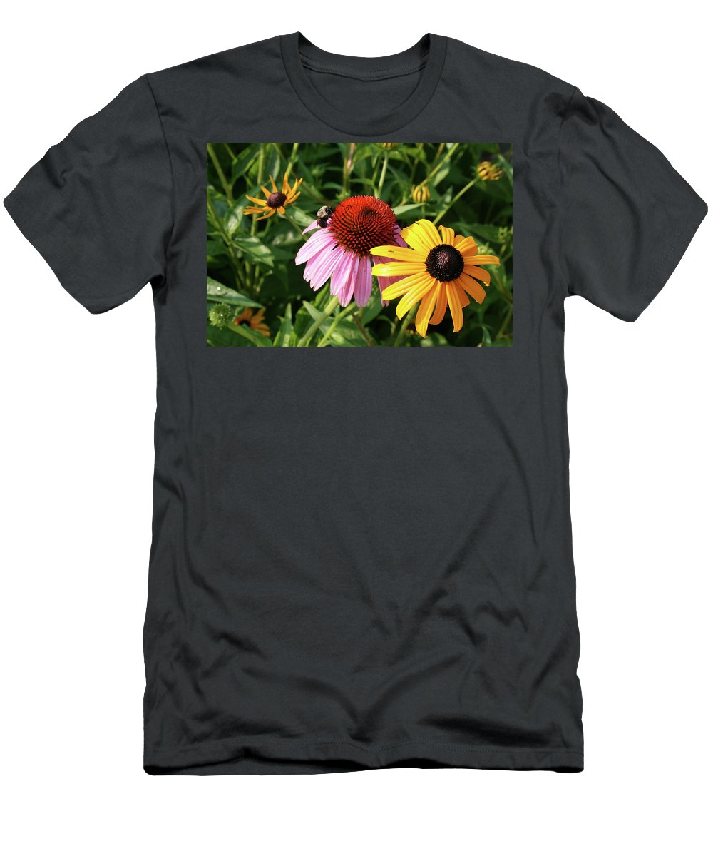 Cone Flower Men's T-Shirt (Athletic Fit) featuring the photograph Bee On The Cone Flower by Greg Joens