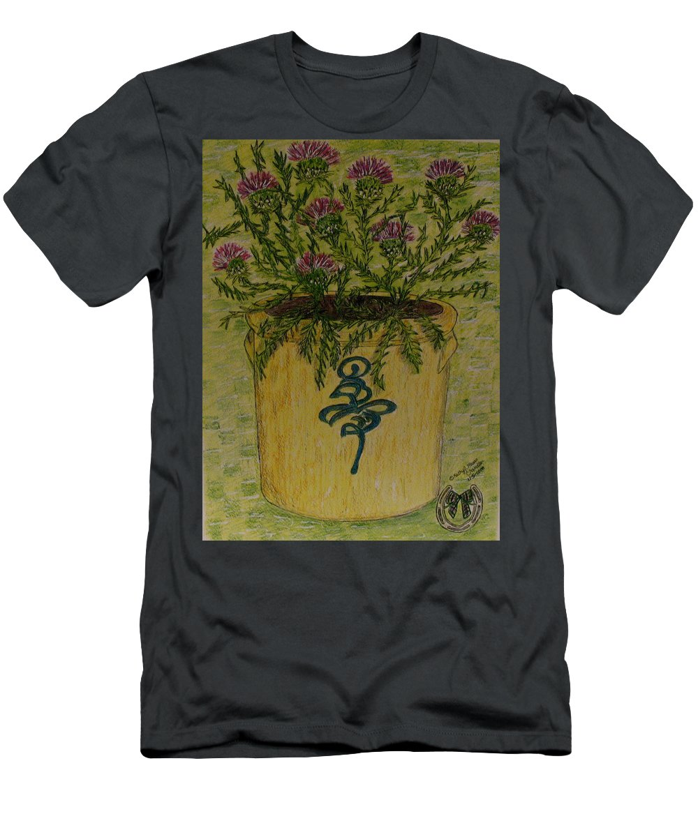 Vintage T-Shirt featuring the painting Bee Sting Crock With Good Luck Horseshoe by Kathy Marrs Chandler
