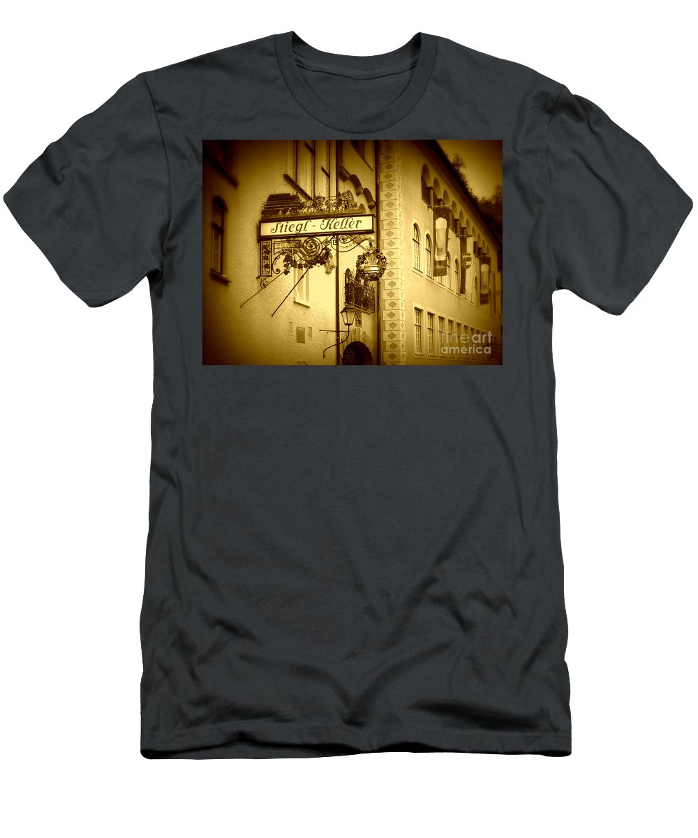 Beer Hall Men's T-Shirt (Athletic Fit) featuring the photograph Beer Cellar In Salzburg by Carol Groenen