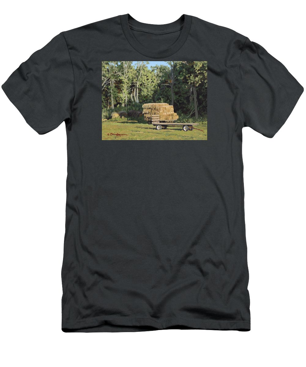 Landscape Men's T-Shirt (Athletic Fit) featuring the painting Behind The Grove by Bruce Morrison