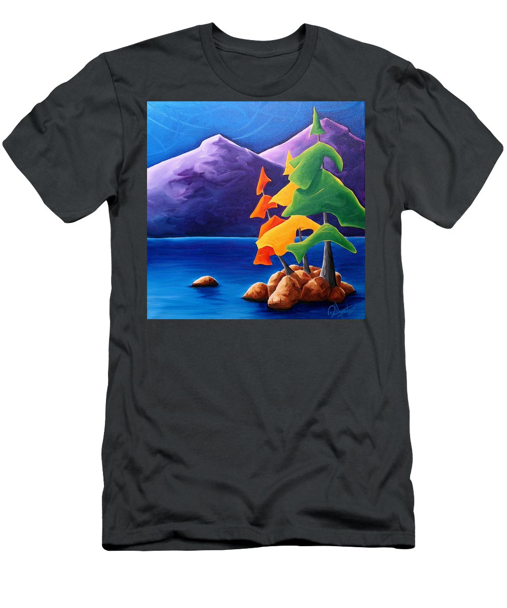 Landscape Men's T-Shirt (Athletic Fit) featuring the painting Being Thankful by Richard Hoedl