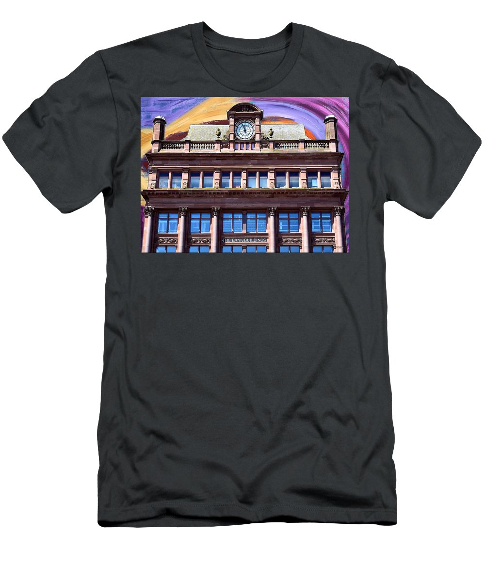 Abstract Men's T-Shirt (Athletic Fit) featuring the mixed media Belfast Architecture 9 by Patrick J Murphy