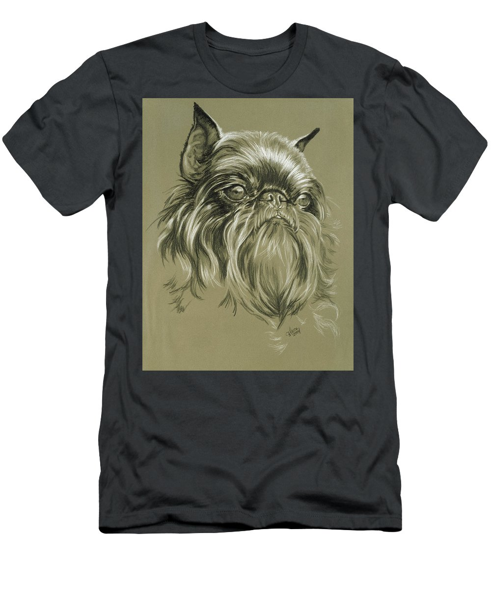 Toy Group Men's T-Shirt (Athletic Fit) featuring the drawing Belgian Griffon by Barbara Keith