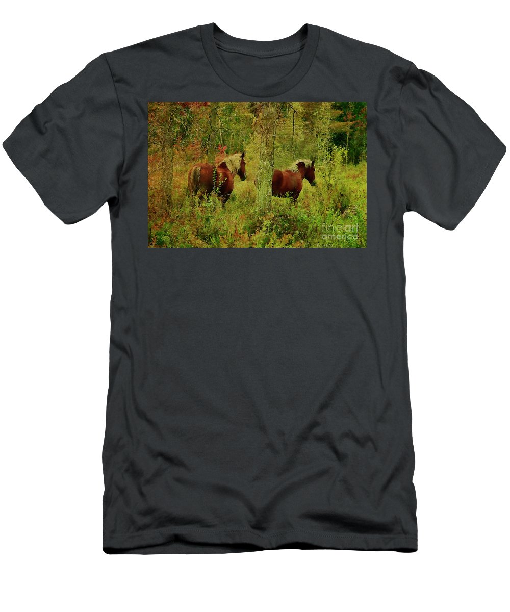Horses Men's T-Shirt (Athletic Fit) featuring the photograph Belgians In Fall by Deborah Benoit