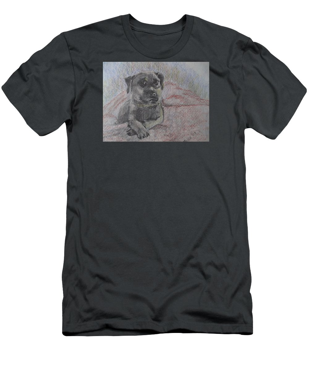 Bella Men's T-Shirt (Athletic Fit) featuring the painting Bella In Pencil by Katherine Berlin