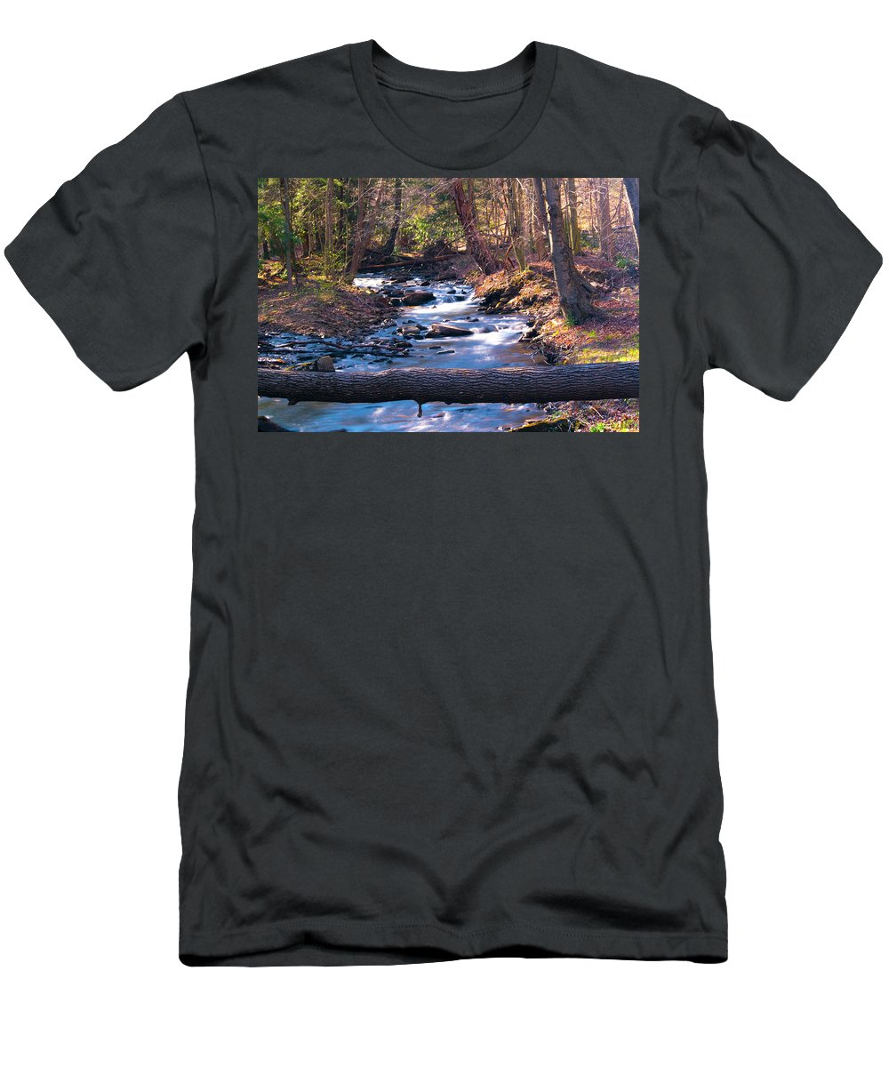 Stream Men's T-Shirt (Athletic Fit) featuring the photograph Bell's Gap Run by Mike Poorman